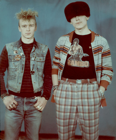 "Punk and ""luber"" in photo studio. Moscow. 