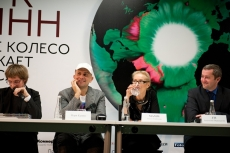 Press conference. Marc Quinn, Olga Sviblova and Anatoliy Vereshagin (JTI)