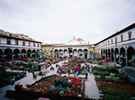 Florence. Piazza SS. Annunziat with the flower market. 