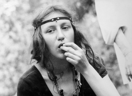 Sveta-candy in a forest hippie camp. 