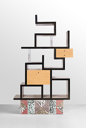 "Ettore Sottsass for Memphis Milano. Shelving MAX, 1987. Veneer maple ""bird's eye"", terrazzo, transparent acrylic. Courtesy of the Palisander Gallery"