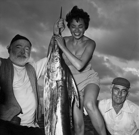Ernest Hemingway, Inge Schoenthal and the fisherman Gregorio Fuentes with a Marlin, Cuba, 1953.