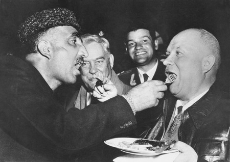 Mutual feeding is a sign of the highest Cashmere hospitality. (A visit of Nikita Khrushchev to India)