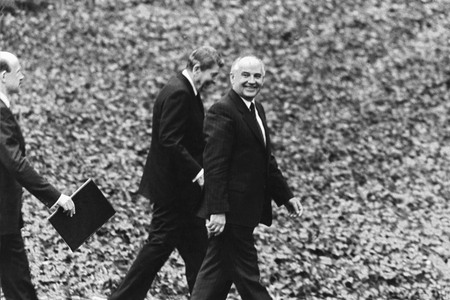 Walk in a garden of the White house. Ronald Reagan and Michael Gorbachev. Washington