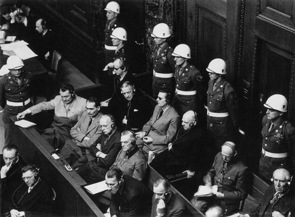 War's criminals at the Nuremberg Trial. Nuremberg. 1946