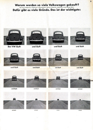 Advertisement of 1960s. Volkswagen drives… and drives… and drives. 