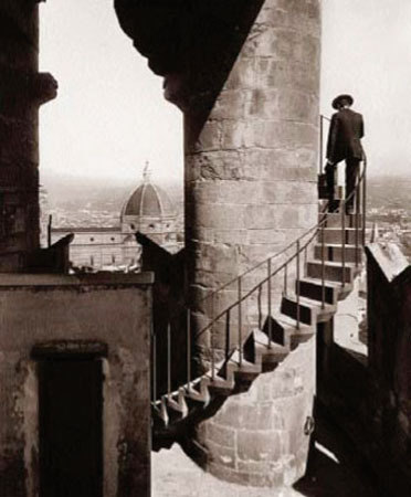 Florence. Stairs of the tower of Palazzo Vecchio with a view of the Cathedral. 