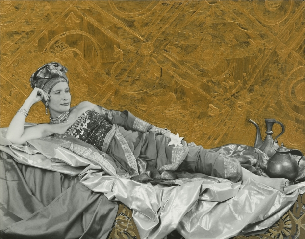 Aidan Salakhova. Odalisque. 1999. Black and white photography hand coloured with gold paint. Courtesy of Pierre Brochet