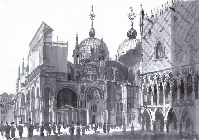 Venice. San Marco. Paper, ink, brush. 2013.