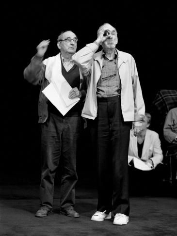Bergman gives instructions to actor Nils Eklund during rehearsal of Strindberg's Ghost Sonata. Royal Dramatic Theatre, Stockholm. 2000.