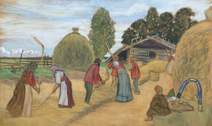 B.M. Kustodiev. Threshing. 1908. Chuvash State Art Museum