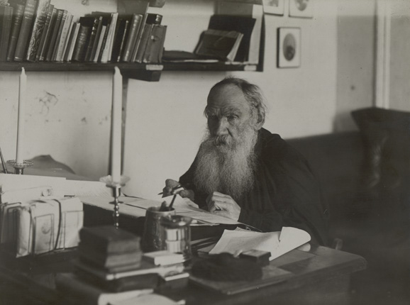 Leo Tolstoy at his work place in the Yasnaya Polyana homestead. 1909.