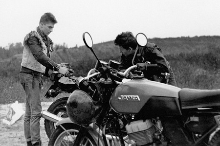 "Breakage on road. Yus and Ilyas, participants of the first Moscow moto-gang ""Black Aces"". Moscow. 