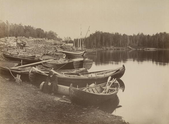 Boats by the shore at Valaam.
