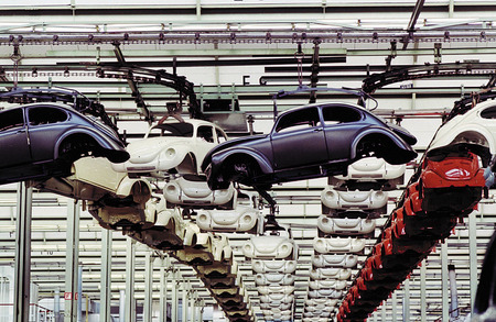 "Manufacturing of ""Beetle"" at plant in Mexico. 