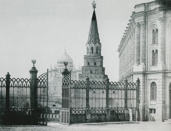 Unknown author. Kremlin. View on Cathedral of Christ the Savior from the  lattice of  the Kremlin  armoury museum. 1880s. From the State Historical Museum's collection