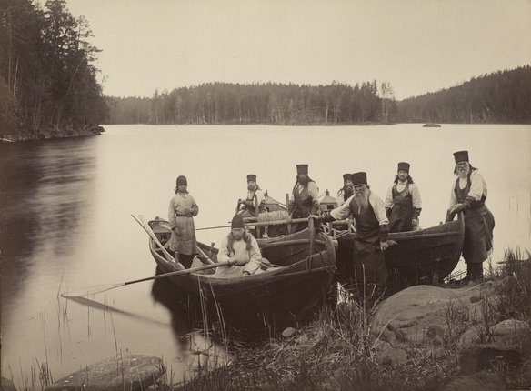 Monks from Valaam Monastery fishing.