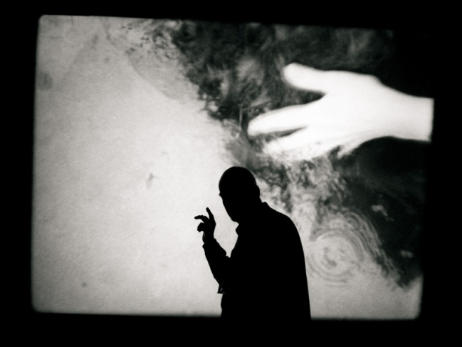 Bergman inspecting a back projection screen at the Royal Dramatic Theatre, Stockholm for his play 'The Image Makers'. 1998.