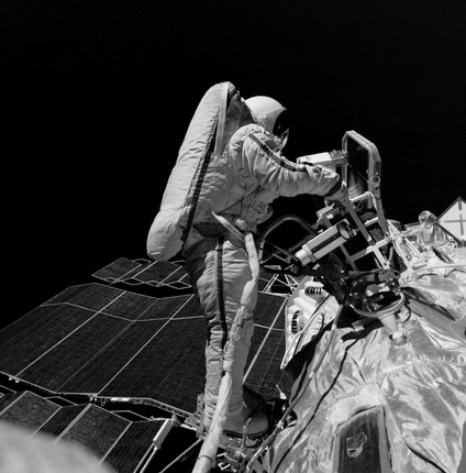 Soviet space pilot Vladimir Dzhenibekov during his spacewalk.
