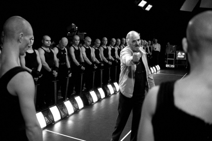 Bergman during rehearsal at the Swedish Television of 'The Bacchae / Euripides'. He instructs extras. Stockholm, 1991.