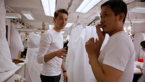 Pieter Mulier and Hong-bo Li in the haute couture atelier. Credit: CIM Productions