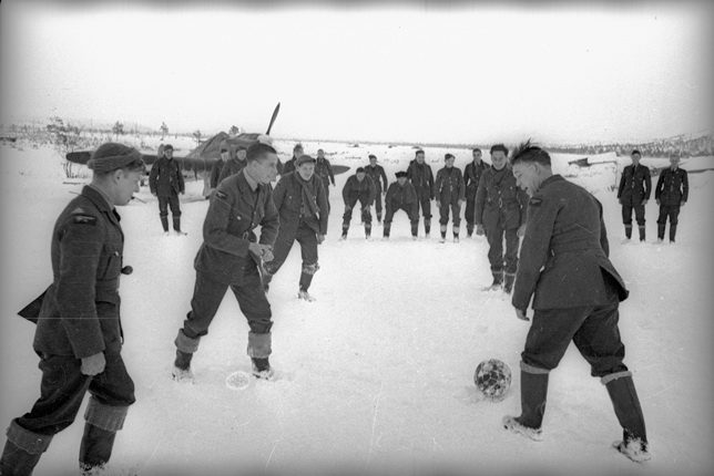 Friendly football match between Soviet and British pilots. The Arctic. 1942