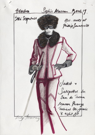 Elektra King Ski Costume sketch The World Is Not Enough © 1999 Danjaq, LLC and United Artists Corporation. All rights reserved.