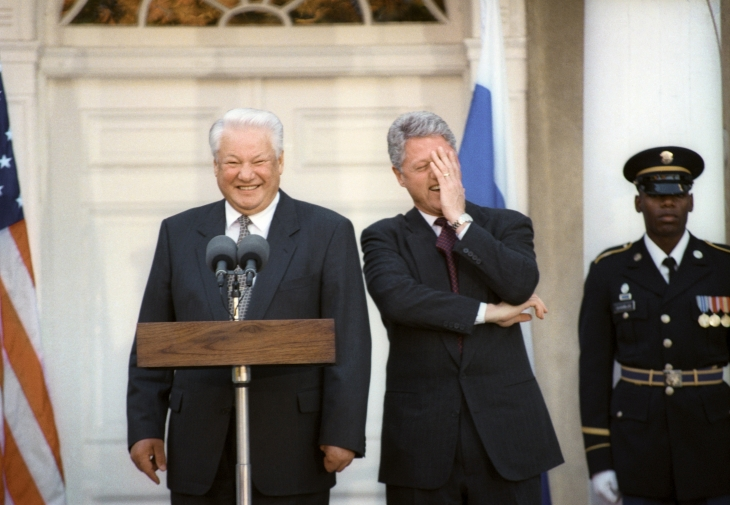 The USA. US president Bill Clinton and the President of the Russian Federation Boris Yeltsin during press conference. 