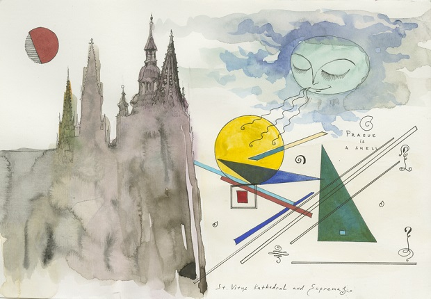 Prague is a Shell. Metropolitan Cathedral of St. Vitus, 2016. Watercolor and ink on paper